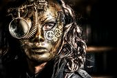 image of steampunk  - Steampunk man wearing mask with various mechanical devices - JPG