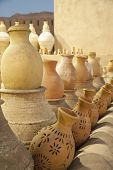 pic of pottery  - Rows of earthenware Pottery in Nizwa, Oman