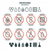Food Intolerance Icons And Labels Set poster