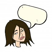 stock photo of annoying  - cartoon annoyed woman with speech bubble - JPG