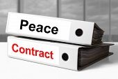 stock photo of telegram  - stack of two white ring binders on office desk peace contract - JPG