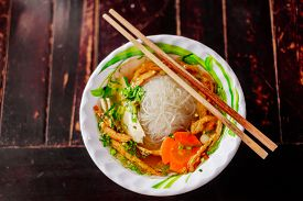 image of noodles  - vegetarian noodle soup pho vietnamese traditional cuisine - JPG