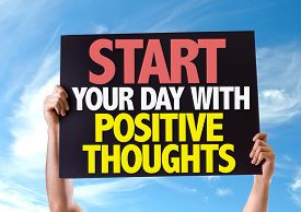 foto of think positive  - Start Your Day with Positive Thoughts card with sky background - JPG