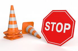 stock photo of cone  - Traffic cones and sign stop isolated on white background - JPG