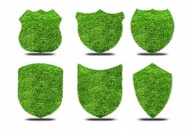 pic of shield  - Set green grass shields on white background - JPG