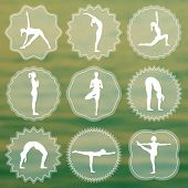 Постер, плакат: Yoga logo with silhouettes of girls