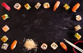 Постер, плакат: Sushi Set On Dark Background Minimalism