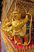 stock photo of glorify  - Golden garuda decoration in the temple of Emerald Buddha - JPG