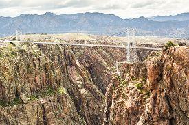 stock photo of suspension  - Royal Gorge Suspension Bridge Canon City Colorado - JPG