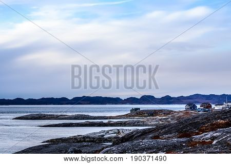 Arctic Fjord Panorama With Houses