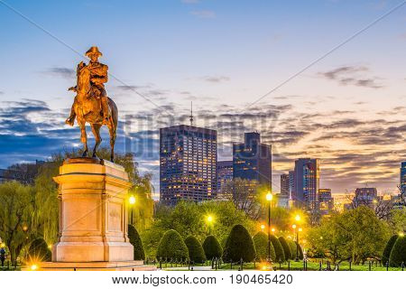 Boston Massachusetts USA skyline at