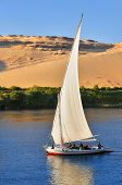 stock photo of nubian  - Famous Aswan sail boat  - JPG