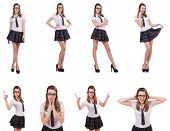 Young naughty student female isolated on white poster