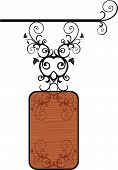 image of corbel  - Wooden Board with beautiful metal floral elements - JPG