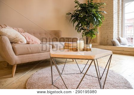 poster of Sofa, Coffee Table And Plant In Living Room Styled Scandinavian.couch And Potted Plant In A Cozy Liv