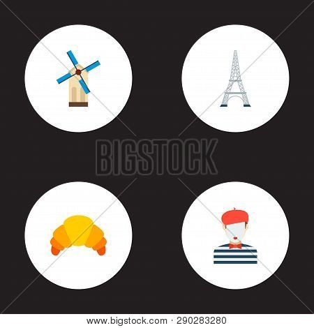 Set Of Europe Icons Flat