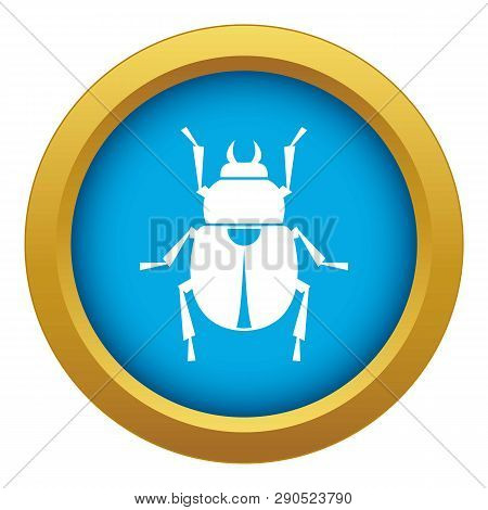 Scarab Icon Blue Vector Isolated