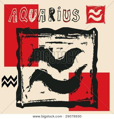 Постер, плакат: Уголь древесный гороскоп рука нарисованные знак зодиака Водолей, холст на подрамнике