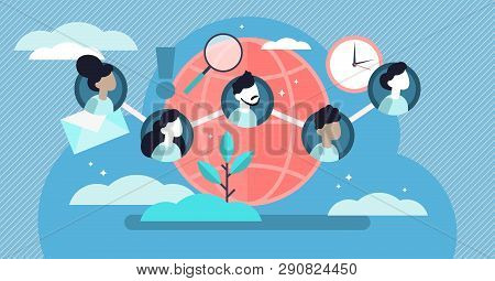 poster of Social Community Vector Illustration. Flat Tiny Linked Persons Group Concept. Communication Media Pl