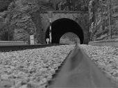 Artistic Photo Of Rail, Close Up, Railway Fragment Photo, Abstract Photo Of Railway In Black And Whi poster