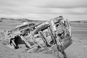 Black And White Photo Of The Shipwreck At Crow Point In Devon poster