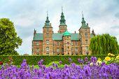 Rosenborg Castle In Copenhagen, Denmark. Lavender Flowerbed In The Small Garden Near The Rosenborg P poster