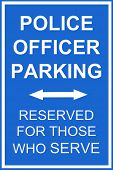 picture of inference  - A parking reserved sign for police for any parking communication inference - JPG