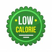 Green Low-calorie Product Label On White Background. poster