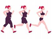 Jogging Weight Loss Woman. Overweight Fat Lady And Fitness Slim Girl Vector Isolated On White Backgr poster