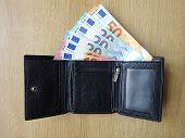 Black Colorgenuine Leather Mens Trifold Design Wallet With European Currency Money Banknote Bone Ins poster