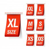 Size clothing labels. Vector.