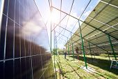 Focus On A Solar Panel. On Blurred Background Workers Mounting Innovative Solar Panels On Green Meta poster