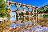 Nimes, France. Ancient Aqueduct Of Pont Du Gard. poster