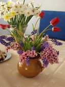 Spring bouquets on a table