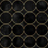 Abstract Watercolor Background With Black Velvet Vibrant Color Circles. Watercolor Hand Drawn Seamle poster