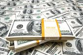stock photo of one hundred dollar bill  - Background with many american hundred dollar bills - JPG