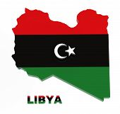 Libya, Map With Flag, Isolated On White With Clipping Path