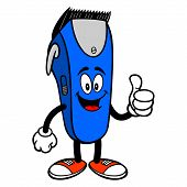 Electrical Hair Clipper Mascot With Thumbs Up - A Vector Cartoon Illustration Of A Barber Shop Elect poster