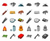 Rest In The Camping Cartoon, Mono Icons In Set Collection For Design. Camping And Equipment Vector S poster