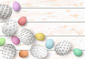 Happy Easter. Congratulatory Easter White Shabby Wooden Background. Easter Colorful Shabby Eggs poster