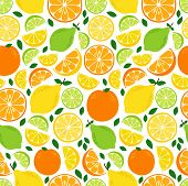 Cute Seamless Pattern With Fresh Lemonade Ingredients Citrus Fruits Lemon, Lime And Orange In Vivid  poster