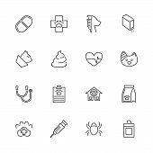 Pet Vet, Animal Treatment Outline Icons Set - Black Symbol On White Background. Pet Vet, Treatment S poster