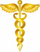 Yellow Caduceus Medical Symbol