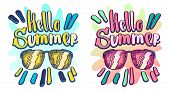 Hello Summer Vector Hand Lettering. Typographic Print With Fun Vector Illustration. Used For T-shirt poster
