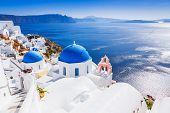 Santorini, Greece. The Picturesque Oia Village And Santorini Caldera. poster