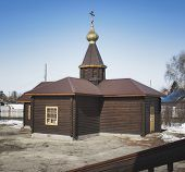 Christian Chapel. Christian Architecture. Wooden Chapel. Religious Building. poster
