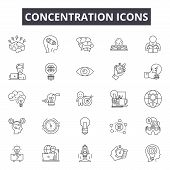 Concentration Line Icons For Web And Mobile Design. Editable Stroke Signs. Concentration  Outline Co poster