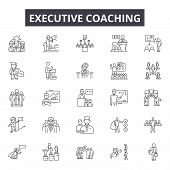 Executive Coach Line Icons For Web And Mobile Design. Editable Stroke Signs. Executive Coach  Outlin poster