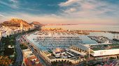 Aerial Photography Drone View Alicante Cityscape Above Panorama Main Landmark In City Center Santa B poster