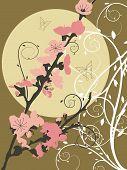Redemoinho de lua-de-rosa de Sakura (Vector)